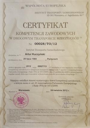 certyfikat kompetencji zawodowych w drogowym transporcie osób