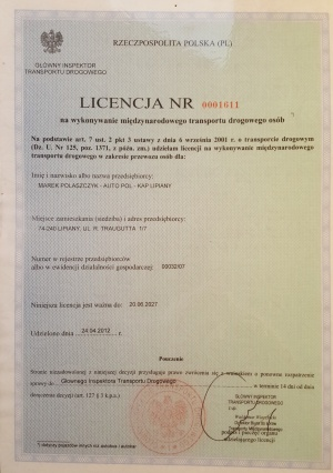 licencja na wykonywanie międzynarodowego transportu drogowego osób